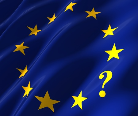 west europe: eu flag with questionmark instead of star