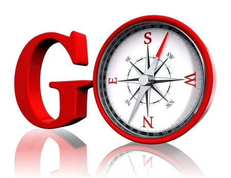 go red word and conceptual compass on white background.