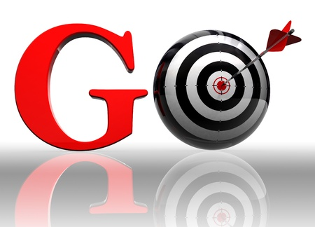 go red word with conceptual target and arrow on white background  photo