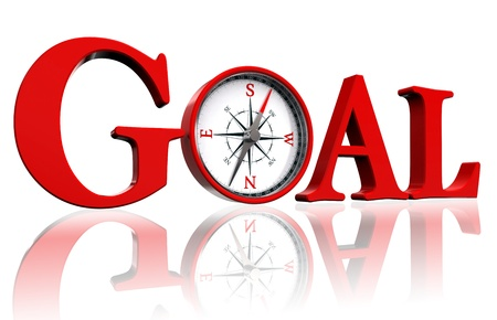 goal achievement: goal red word and conceptual compass on white background.