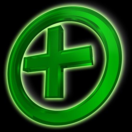 medical preparation: green cross in circle health symbol on black background