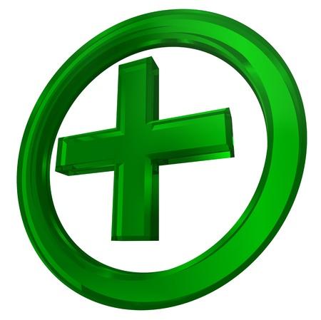 simbolo medicina: cruz verde en el s�mbolo de la salud c�rculo sobre fondo blanco