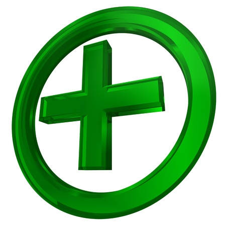 pharmacy equipment: green cross in circle health symbol isolated on white background Stock Photo