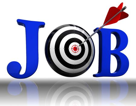 hired: job blue word and conceptual target with arrow on white background. Stock Photo