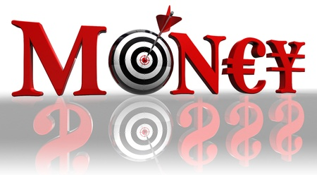 archery target: money red word with euro, yen and concept target with arrow on white background reflecting dollars