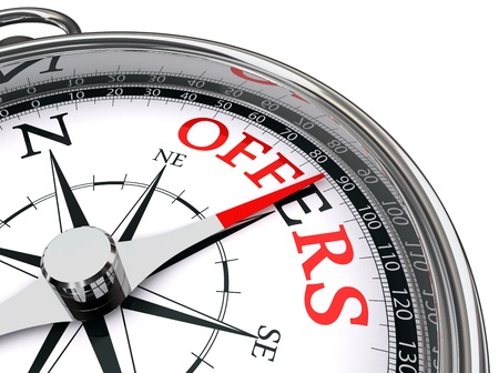 offers red word indicated by compass towards east conceptual image. Stock Photo - 13012792