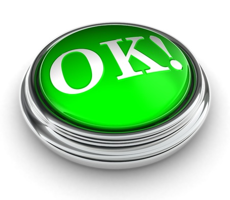 ok word on green push button on white background. photo