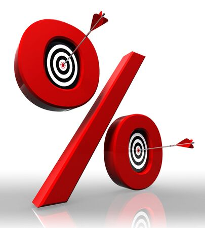 cent: per cent red symbol with conceptual targets and arrow on white background  Stock Photo