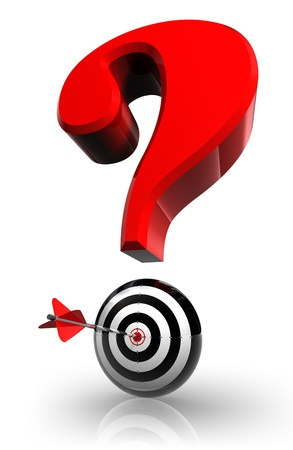 red questionmark and concept target with arrow on white background