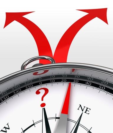 Straßen überqueren Wahl roten Pfeile und Kompass-Konzept mit Fragezeichen auf weißem Hintergrund.
