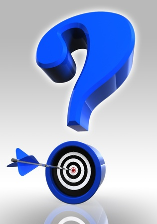 blue questionmark and target with arrow on white background.  photo