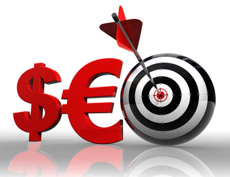 seo red word with dollar, euro and conceptual target with arrow on white background.  photo