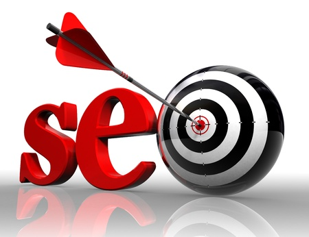 seo red word and conceptual target with arrow on white background  photo