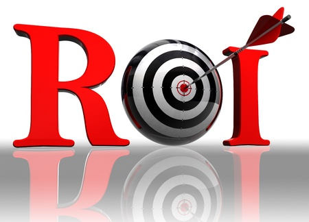 stock market return: roi red word with conceptual target and arrow on white background  Stock Photo