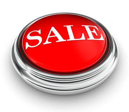 sale word on red push button on white background. Stock Photo - 13012771