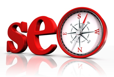 seo: seo red word and conceptual compass on white background. Stock Photo