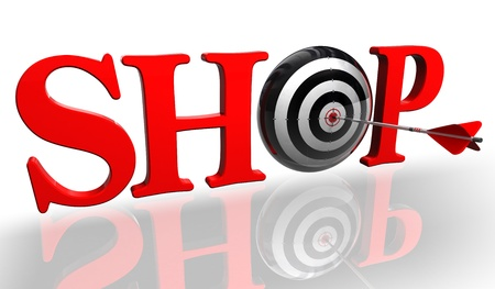 shop red word with concept target and arrow on white background  photo