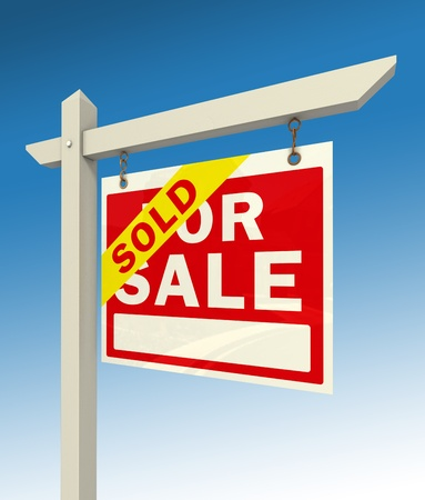 sold sign: real estate for sale red sign and word sold on blue background Stock Photo