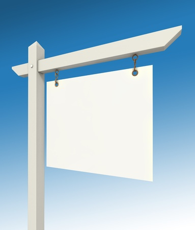 real estate empty sign on blue background photo