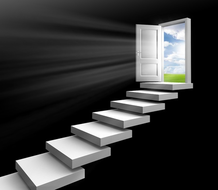 day light in room through open door on stairs towards field on black background Stock Photo