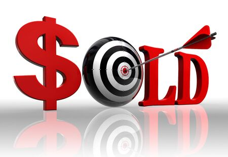 sold red word and concept target with arrow on white background  photo
