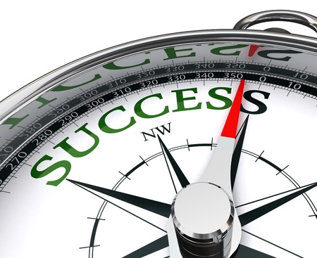 business success: success green word indicated by compass conceptual image. Stock Photo