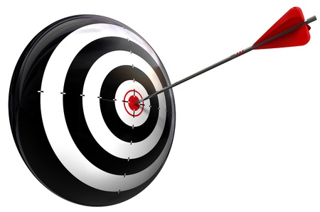 target and arrow perfect hit conceptual image isolated on white background  Stock Photo - 13012733