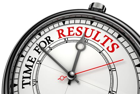 search results: time for results concept clock on white background with red and black words. Stock Photo