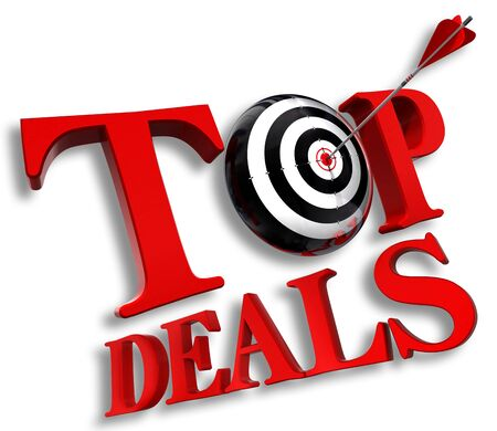top delas red logo with conceptual target and arrow on white background photo