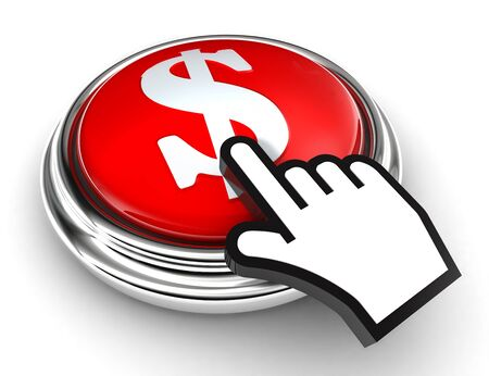 cursor hand: dollar symbol red button and cursor hand on white background Stock Photo