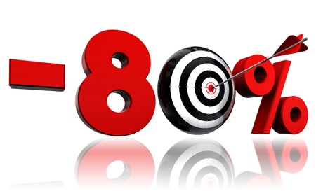 precise: eighty per cent 80  red discount symbol with conceptual target and arrow on white background