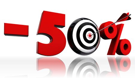 fifty per cent 50  red discount symbol with conceptual target and arrow on white background Stock Photo - 13264878