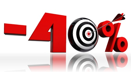 precise: forty per cent 40  red discount symbol with conceptual target and arrow on white background Stock Photo