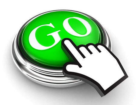 go green button and cursor hand on white background photo