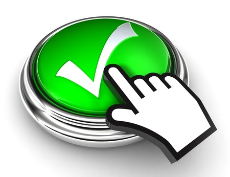 confirm: ok tick check mark symbol on green button with cursor hand on white background