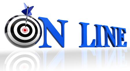 online blue word and conceptual target with arrow on white background photo