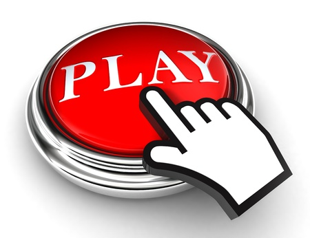 play red button and cursor hand on white background photo
