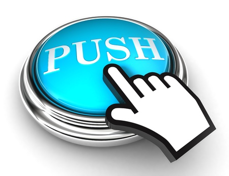 push blue button and cursor hand on white background photo