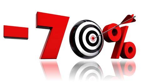 seventy: 70 per cento di sconto 70 simbolo rosso, con l'obiettivo concettuale e freccia su sfondo bianco Archivio Fotografico