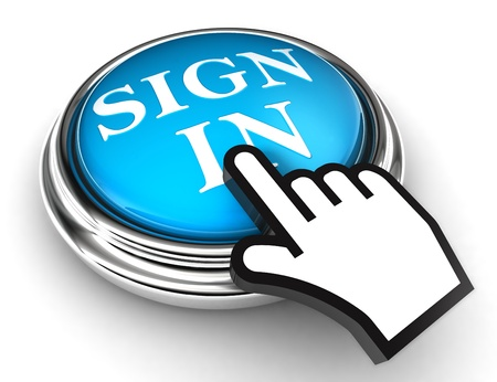 sign in blue concept button and hand on white background photo