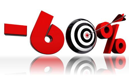 precise: sixty per cent 60  red discount symbol with conceptual target and arrow on white background Stock Photo