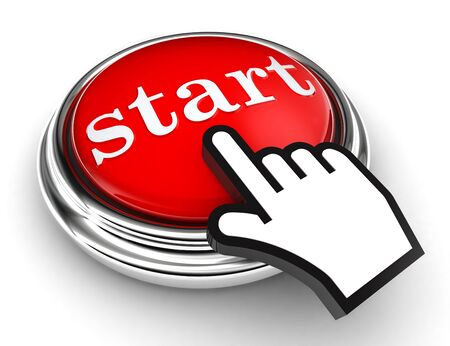start red button and cursor hand on white background photo