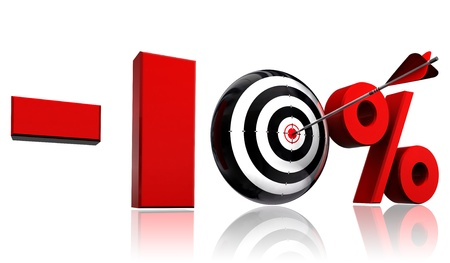price hit: ten per cent 10  red discount symbol with conceptual target and arrow on white background Stock Photo