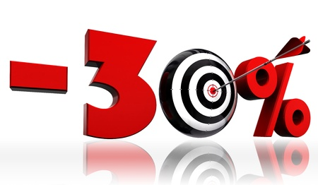 30: thirty per cent 30  red discount symbol with conceptual target and arrow on white background