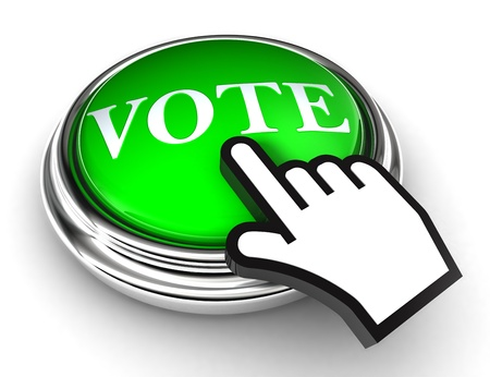 voter: vote green button and cursor hand on white background