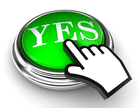 yes green button and cursor hand on white background photo