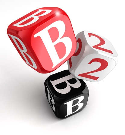 red dice: b2b red white black box on white background