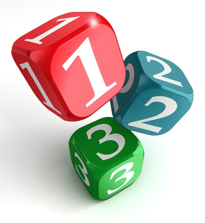 three objects: one two three numbers on red blue green box on white background