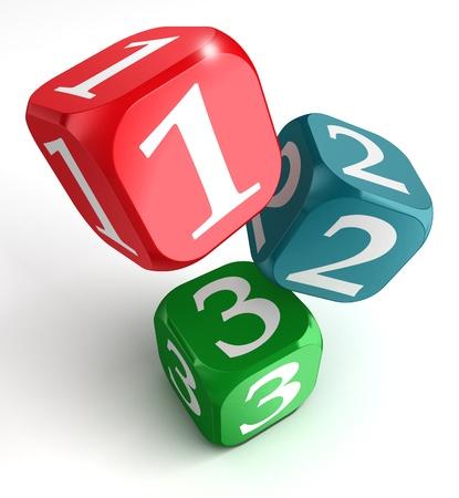 numera: uno dos tres n�meros en rojo caja azul verde sobre fondo blanco