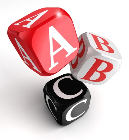 literacy: A,B and C on red, white and black box on white background